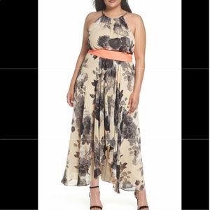 Floral print high low chiffon dress